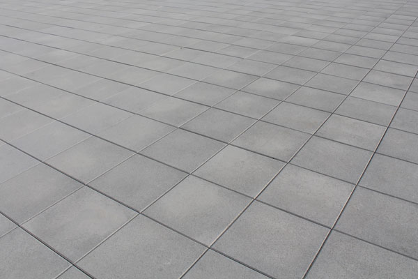 Grey tiled floor in squares
