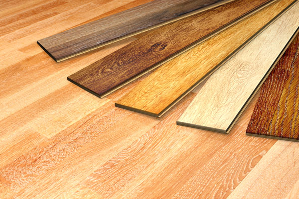 Wooden flooring samples on light wood floor
