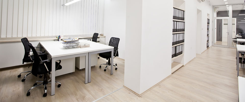 Light wood floor in office