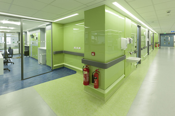 Royal Free Hospital ICU- Green Chameleon laminate